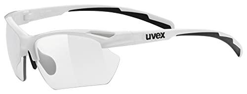 uvex Unisex– Erwachsene, sportstyle 802 V small Sportbrille, selbsttönend, schmale Passform, white/smoke, one size