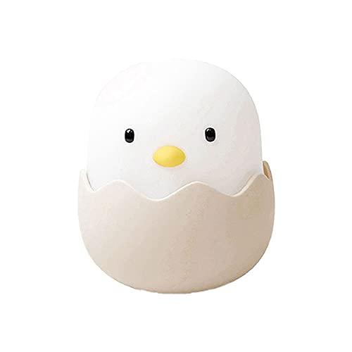 GBLDLY Luz de noche de pollo de cáscara de huevo, luz de silicona linda de la cáscara de huevo, recargable LED regalo Animal Chick Touch lámpara de noche para dormitorio de