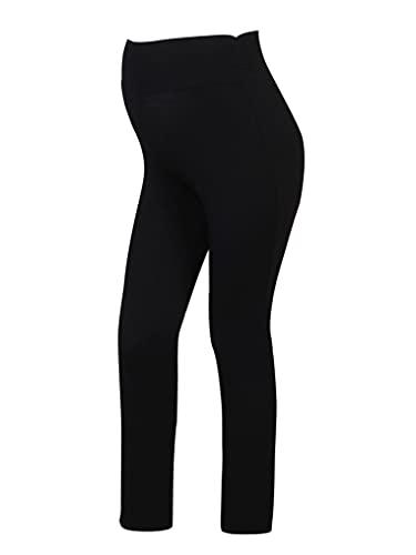 YUUMIN Leggings elásticos de maternidad para mujer, cómodos, de longitud completa al tobillo, pantalones de yoga, pantalones casuales, Negro, XL