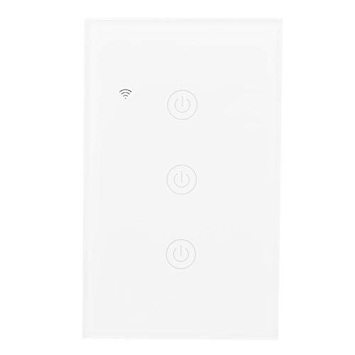 Interruptor inteligente WiFi GT-121-3, interruptor inalámbrico de control remoto WiFi ABS + PC, interruptor táctil inteligente WiFi de 3 canales, para Ama-zon Alexa 100-240VAC