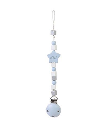 Bam Bam Bam Sucette Pince à Sucette Gris/Rose ou Bleu avec blocs en Bois – Clip pour Vêtements Arrête la Perte (Bleu)