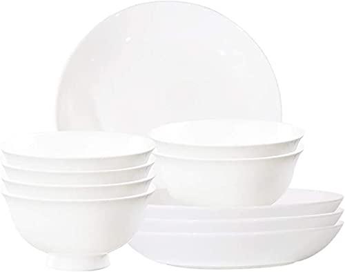 Juego de Platos, Conjunto de vajillas de 10 Piezas, Conjunto de Cena de cerámica Blanca, Placas de cenas de 4.5 Pulgadas, Conjunto de tazones de Cereales de 8 Pulgadas, Servicio para 6, Euro Ceramica