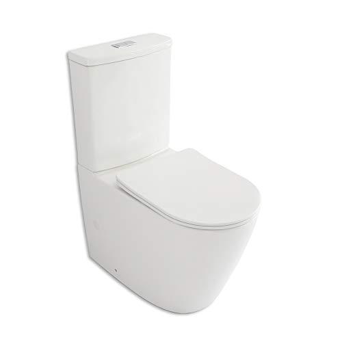 Inodoro completo Thassos Tapa extrafina con caída Amortiguada Diseño moderno y elegante Entrada de agua en ambos lados