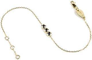 الاسورة الثلاثية من الالماس الاسود و مكون من الماسة 0.10 قيراط و اثنين من الالماسات 0.05 قيراط و من الذهب عيار 18