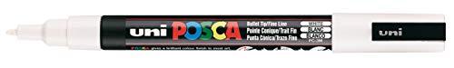 Uni Posca PC-3M Marqueur peinture verre à pointe fine conique 1,3mm Blanc