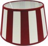 Tisch-Lampenschirm *rund*, Chintz creme mit rotem Balkenstreifen Du=25 /Do=19 / schräge H=15cm, Befestigung unten E27