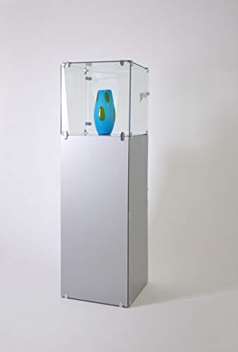 Juweliervitrine klein abschließbar Haubenvitrine Vitrine Glas mit Fach grau - Präsentationsvitrine für Ausstellungen oder Messen
