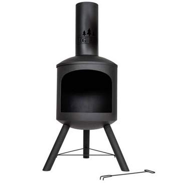 Log-Barn Chiminea Black Steel Firepit - Garden Outdoor Wood Burner Contemporary Design Tall Patio Heater - Easy To Assemble Chimnea Log Burner For a Perfect Fire Outside.