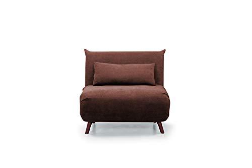 Home Heavenly - Sofá Cama Pegaso Plegable, sofá butaca Individual con Pata de Madera y tapizado en Tela (Marrón)