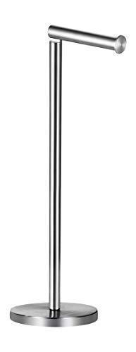 Ambrosya® | Exklusiver freistehender Toilettenpapierhalter aus Edelstahl | Bad Badezimmer Halter Halterung Klopapier Klopapierhalter Toilette Toilettenpapier Wand WC (Edelstahl (Gebürstet))
