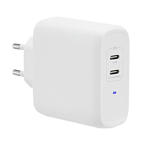 Amazon Basics - Cargador de pared con tecnología GaN de 68W, para portátiles, tabletas y teléfonos, con 2 puertos USB-C (50W + 18W) y protocolo de carga Power Delivery, color blanco