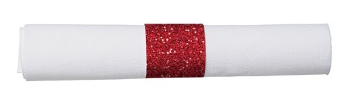 15 1/2 x 15 1/2 Red Glitz Prerolled FashnPoint White Dinner Napkin and Heavyweight Red Glitz Cutlery Bagged 100 Ct