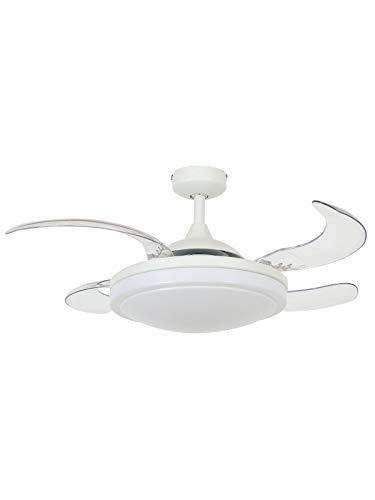 FANAWAY Evora - Ventilador de techo con luz (2 x E27) y mando a distancia, 51,5 W, blanco, 94 cm de diámetro, 42 cm de plegado