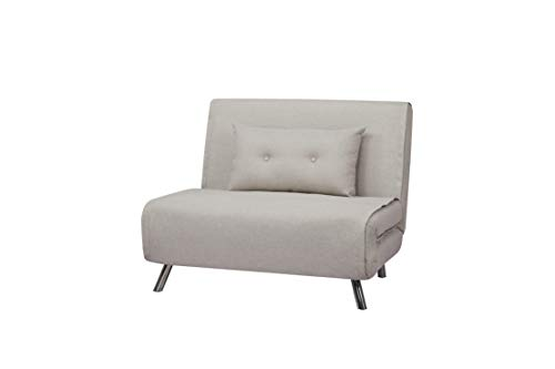 AmazonBasics - Sofá cama,  100 x 91 x 91, Gris claro