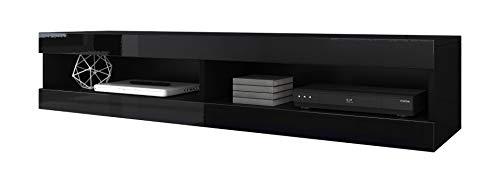 ECOM e-COM Meuble de Salon Mobile TV Porte Volant avec LED Bleue - 150 cm - Noir