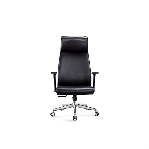 BKWJ Silla ejecutiva directiva Silla de Oficina Silla, ergonomía Silla de Respaldo Alta, con sillas de Escritorio de reposabrazos fijos, Cuero