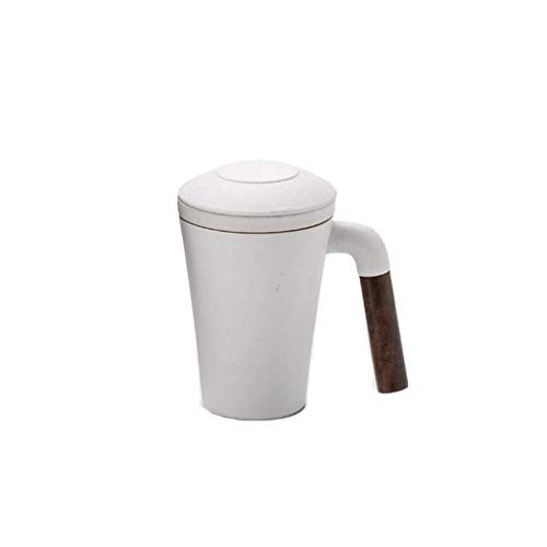 ZMHVOL Taza de café 330ml de Taza de té de cerámica con la Tapa y la infusión/Filtro para Hombres, Mujeres y familias en la Oficina.El Filtro té para Hacer Tazas de té 11 Oz Taza (Color: negr