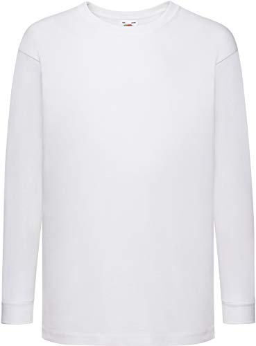 Fruit Of The Loom Kinder T-Shirt, langarm 122,Weiß - Weiß