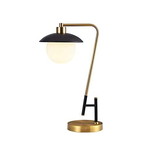 XYZMDJ Lámpara de Mesa Retro Simplicidad Iron Art Table Lámpara Lámpara de Noche Lámpara de Noche Sombra de Vidrio Lámpara para Dormir para Dormitorio