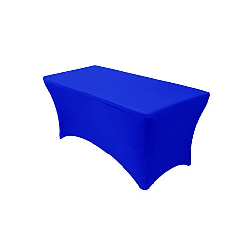 Kokomimi - Mantel de mesa rectangular elástico de spandex para bodas, banquetes, salones, conferencias, color azul real, 8FT(244 x 76 x 76 cm)