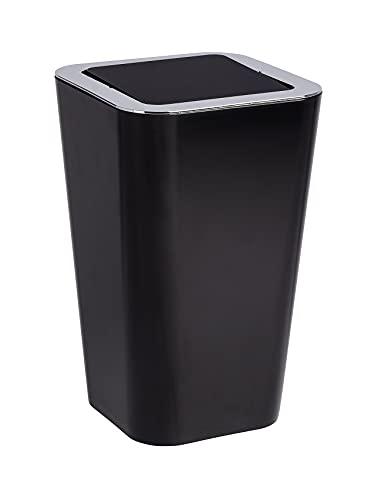 WENKO Schwingdeckeleimer Candy Black - Abfallbehälter mit Schwingdeckel Fassungsvermögen: 6 l, Polystyrol, 18 x 28.5 x 18 cm, Schwarz
