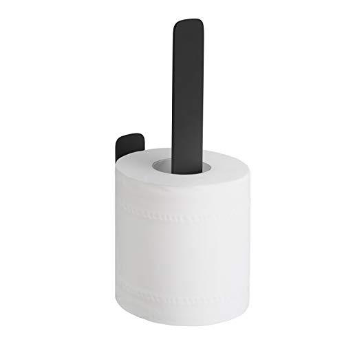 WEISSENSTEIN WC-Ersatzrollenhalter - Toilettenpapierhalter Edelstahl ohne Bohren – Rollenhalter Wand selbstklebend - schwarz