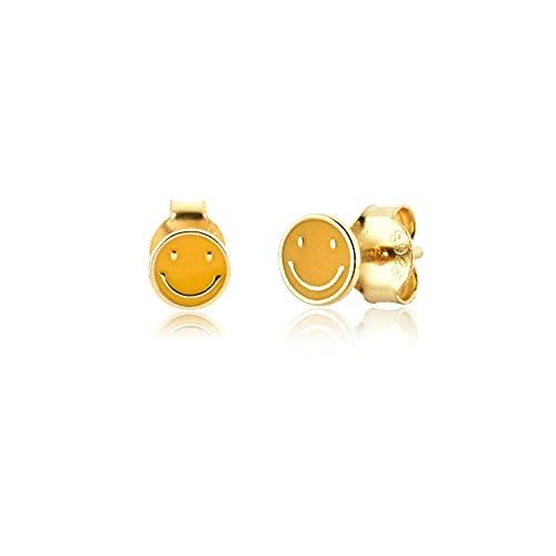 925 Plata Oro Esmalte colorido Cara feliz Smiley Tiny Stud Pendiente Piercing Boda Joyería de lujo para mujeres-Pendiente amarillo