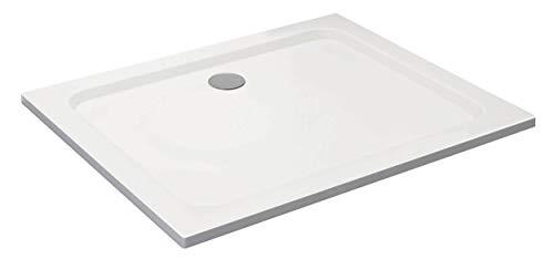 VILSTEIN Duschwanne 100 x 120 x 5 cm, sehr Flach, Duschtasse mit Gefälle, Sanitär-Acryl, Glasfaser verstärkte Wanne, DIN-Anschluss, Form: Rechteck, Weiß, Schneeweiß Hochglanz - ohne Ablaufgarnitur