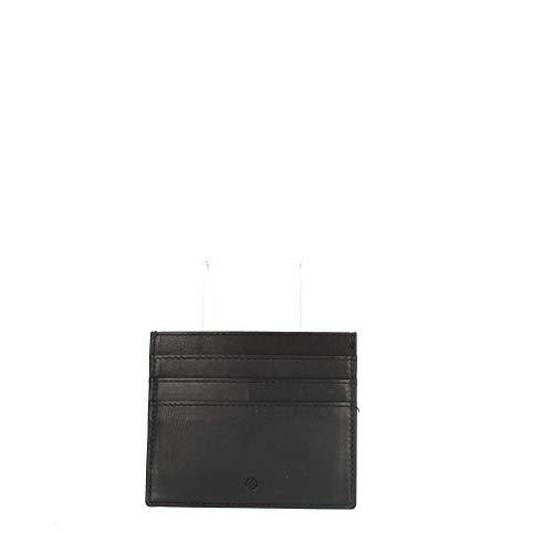 Samsonite, Porta Carte di Credito in Pelle Piatto, con RFID Anticlonazione, Nero, Linea Attack 2