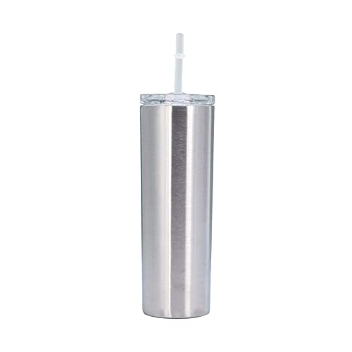 Mosako - Taza de café térmica de acero inoxidable con pajita de 20 onzas, doble pared aislada para el hogar, la oficina, la taza de viaje de botella de vacío (plata)