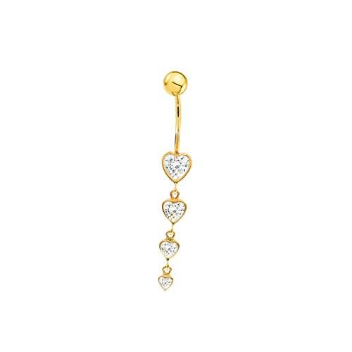 Piercing pour nombril cœurs or jaune 9 carats