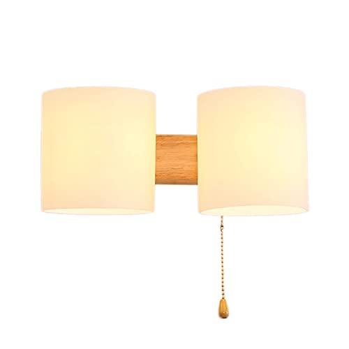 Lampada da parete da comodino in legno massello, lampada da parete a doppia testa che si illumina su e giù, applique con interruttore a tirante Lampada da parete per interni da soggiorno per veranda d