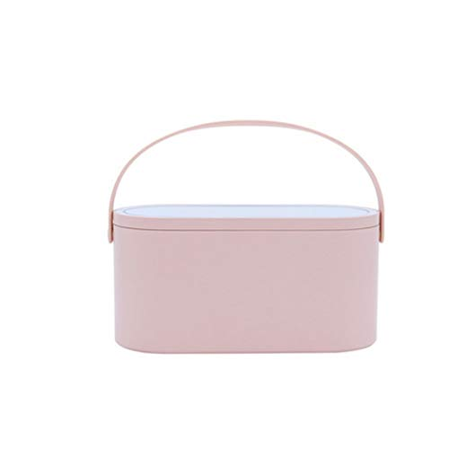 SMEJS Estuche cosmético de Viaje portátil Creativo, Caja de Almacenamiento de Caja de Almacenamiento de cosméticos, con Cubierta de Espejo de luz LED decoración de Escritorio para el hogar
