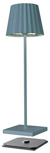 sompex Troll 2.0 LED Gartentischleuchte   Akkubetrieben   Aluminium   Dimmbar   Spritzwasserschutz   Inkl. Ladestation, Farbe:blau