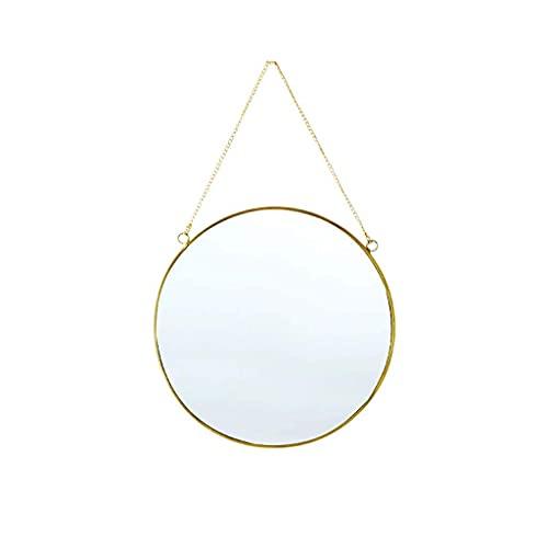 HJW Espejo de pared redondo transparente y práctico, espejo de maquillaje de metal con correa para colgar, espejo decorativo para dormitorio, baño, sala de estar y entrada, dorado, grande
