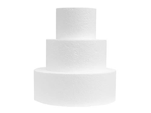Miss Bakery's House® Disco de poliestireno - cake dummy – set 1 – Ø 10 cm, Ø 15 cm, Ø 20 cm – 3 piezas