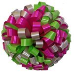 """Large Car Bow - 24"""" - Silver Hot Pink & Lime (Personalized)"""