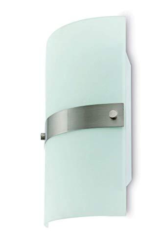 Projecteur Barcelona angle 63069 applique 40W métaux Inox et Abat-jour en verre Transparent