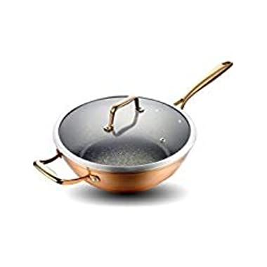 12 inches Aluminum Nonstick Wok Stir Fry Pan with Induction Compatible Bottom,Dishwasher Safe,Copper