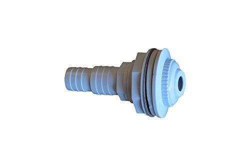 SPIRATO Einlaufdüse für Stahlwandbecken Einströmdüse, weiß mit Anschluss 32-38mm