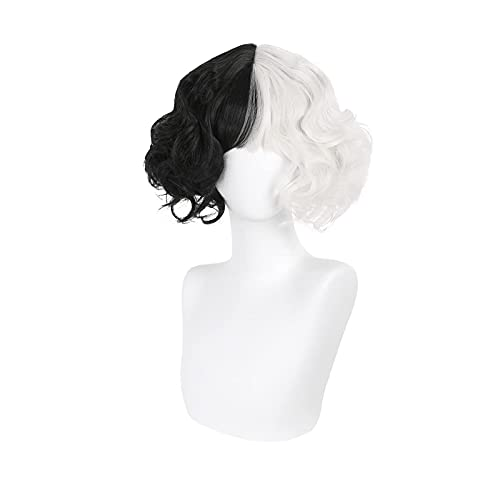 QYA Cruella Devil Cosplay Costume Wig Half Black And White Fluffy Short Layered SyntheticHairs for Halloween Christmas Carnival Party