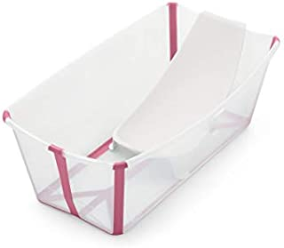 Stokke Flexi Bath Bundle with Newborn Support, Transparent Pink