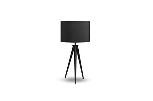 LIFA LIVING Schwarze Vintage Tischlampe mit Tripod E27, 57 cm hoch, Tischleuchte im Retro-Design, moderne Nachttischlampe im skandinavischen Stil