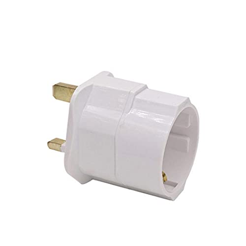 NIDONE Universal Standard Conversion Plug EU Plug to UK Plug Conversion Adapter with Fuse Converter Plug Travel Adapter 1pc White