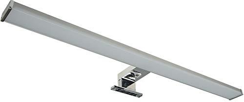 LED Spiegelleuchte 60cm IP44 12Watt 960 Lumen | Spiegelschrank Leuchte | Wand- und Aufbaumontage | Beleuchtung für Schrank Spiegel Bad I Alu-Optik I Neutralweiß