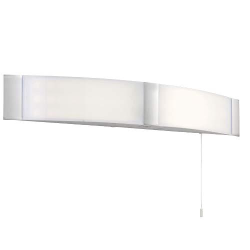 2 X 6 W cool vit LED | IP44 badrum vägglampa | opal & krom akryl | modern överskåp/spegel böjd smal elegant lampa | fuktresistent dusch/våtrum belysning montering | dragkabelbrytare