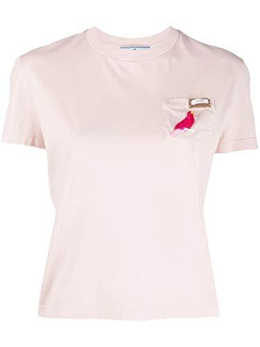 Prada Luxury Fashion Damen 3520ARS2011WYYF00Q3 Rosa Baumwolle T-Shirt | Frühling Sommer 20