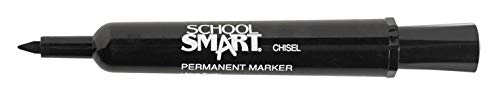 School Smart 1354255 Permanent Marker, Broad Chisel Tip, Black (Pack of 12),8-1/2 x 11 Inches - 500 Sheets
