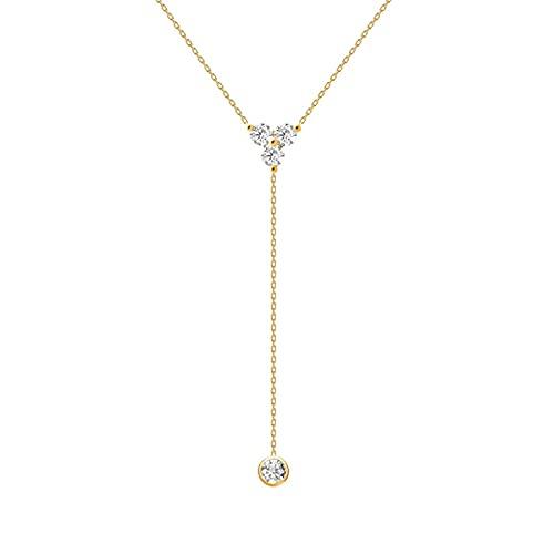Collar De Plata Para Mujer MiniJoyeríaCruzadaEncantadora Cadena Colgante 18K Gargantilla A