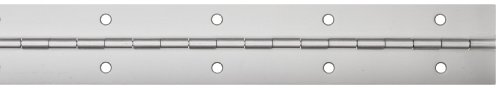 Aluminum 3003 Continuous Hinge with Holes, Clear Anodized Finish, 0.04' Leaf Thickness, 1-1/16' Open Width, 3/32' Pin Diameter, 1/2' Knuckle Length, 3' Long (Pack of 1)